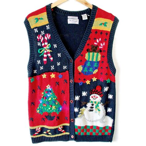 vintage 90s light up ugly christmas sweater vest the