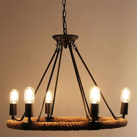 Country Style Pendant Lights American Retro Pendant L Creative Pastoral Rustic Country Style Rope Pendant Lights Cafe