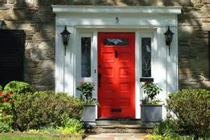 One of the many red doors in maplewood