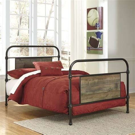 ashley furniture metal beds ashley trinell metal bed in dark brown b446 7x