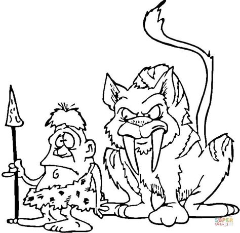 saber tooth tiger and caveman coloring page free