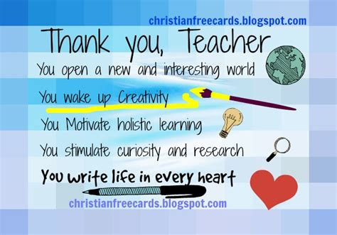 Thank You Speech For Teachers Sle thank you card free christian cards