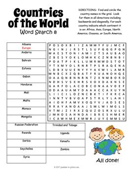 printable word search countries of the world countries of the world word search 8 puzzle bundle by