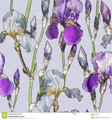 flower iris pattern seamless pattern with beautiful iris flowers cartoon