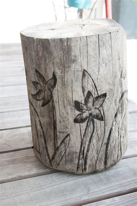 wood stump stool diy bellawillow shop driftwood garden stump stool