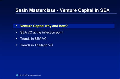 Md Mba Venture Capital by Sasin Master Class Quot Venture Capital In Southeast Asia