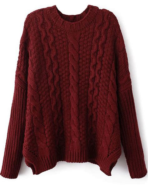 knit sweater wine sleeve cable knit sweater shein