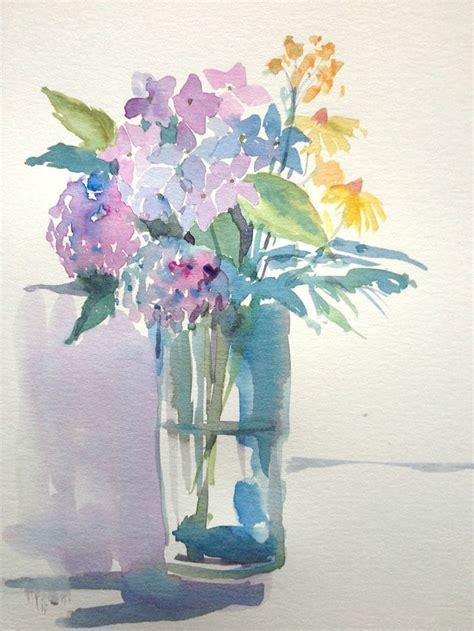 Paintings Of Flowers In A Vase by Original Watercolour Painting Flowers In A Glass Vase