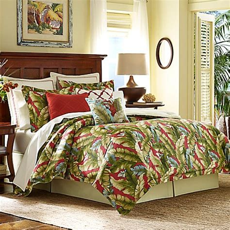 tommy bahama 174 anguilla comforter set in green red bed