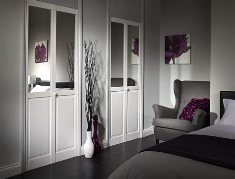 Contemporary White Wooden Bi Fold Door Decor With Half Contemporary Bifold Closet Doors