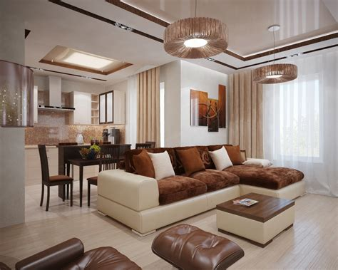 brown cream living room interior design ideas