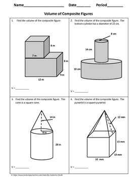 Volume Of Shapes Worksheet by Geometry Worksheet Volume Of Composite Figures By My