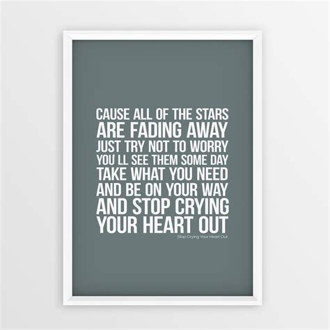 oasis stop crying your heart out official video youtube oasis band lyrics print stop crying your heart out wall