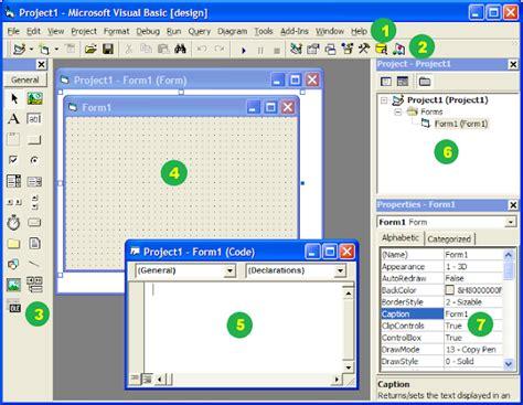 tampilan area kerja visual basic  visual basic