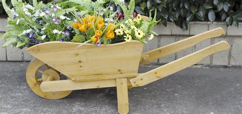 Decorative Wooden Wheelbarrow Planter by Charles Bentley Wooden Decorative Wheelbarrow Planter Ornament