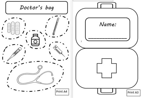 doctor bag craft template aistear at the doctors mash ie