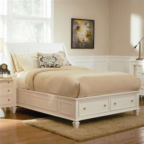 sandy beach bedroom set white coaster sandy beach sleigh bed with storage footboard in