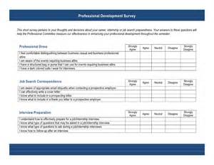 Example Resumes by Professional Development Survey Questionairre