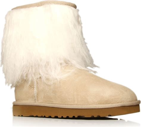 boots with fur ugg fur cuff sheepskin boots in brown lyst