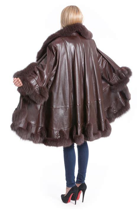 swing mantel leder mantel mit fuchs fell veredelt luxus pelz