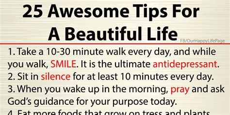 life tips 25 awesome tips for a beautiful life