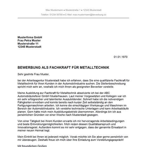 Anschreiben Muster Quereinstieg Bewerbung Als Fachkraft F 252 R Metalltechnik Bewerbung Co