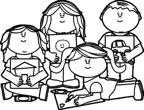 kids color school children clipart black and white cliparts galleries