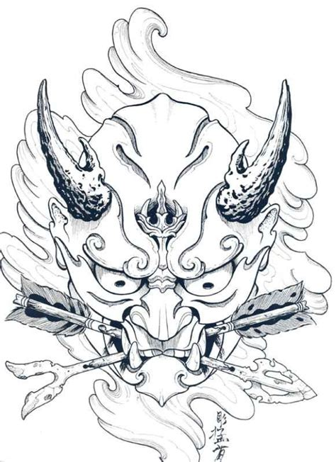 hannya mask tattoo design japanese hannya mask designs by horimouja outline