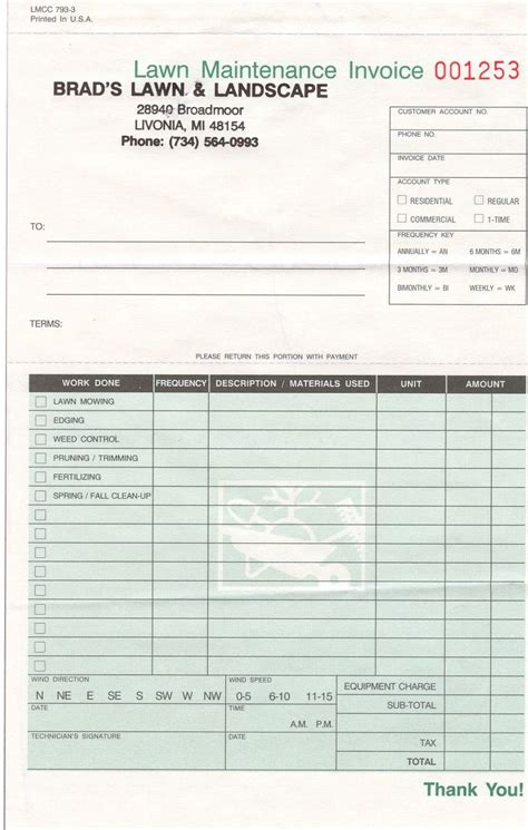 landscape invoice template invoicegenerator landscaping