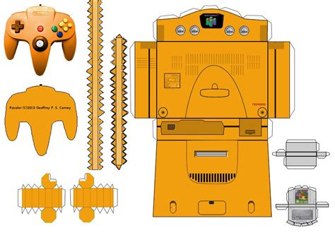 Papercraft Pattern - n64 papercraft template by gpsc on deviantart