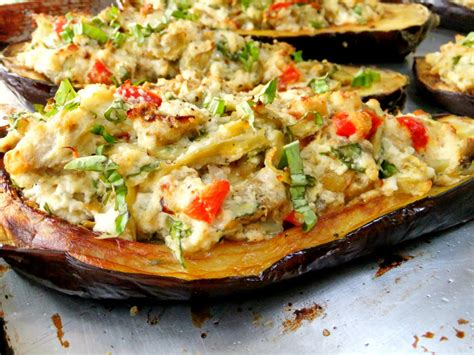 stuffed eggplant stuffed eggplant with ricotta spinach and artichoke