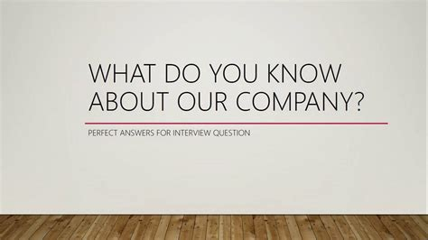 what do you about our company question 9