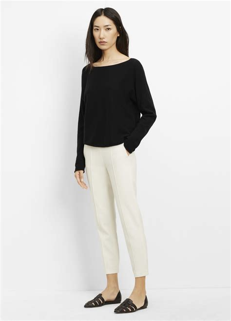 vince boatneck pullover cashmere sweater lyst vince cashmere cropped boatneck sweater in black
