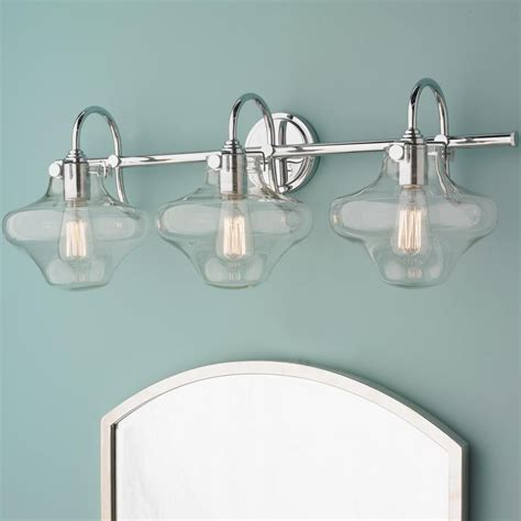 bathroom vanity light globes modern clear schoolhouse globe vanity 3 light nickel