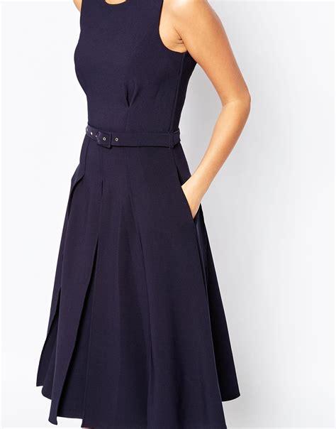 Closet Dresses by Closet Midi Skater Dress With Box Pleats In Blue Lyst