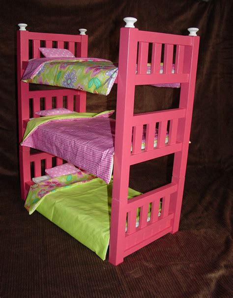 18 inch doll bunk bed handmade wooden triple bunk beds for 18 inch dolls