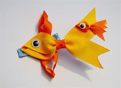 how to make ribbon animal sculptures goldfish fish ribbon sculpture zoo animal hair clip bow