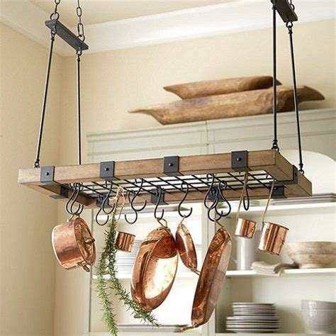 home improvements pallet pot rack a greenpoint kitchen our arturo pot rack serves up rustic good looks and