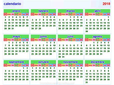 Calendã Semanas 2018 Calendario 2018 Free Printable Calendars 2017