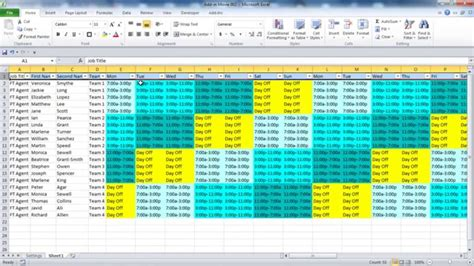 team work schedule template creating your employee schedule in excel