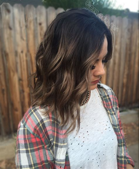 short hair cut and ash color streaks look grey perfect caramel balayage highlights dark brown root on