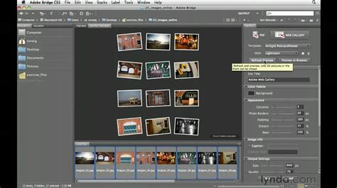adobe bridge cs creating  web gallery lyndacom
