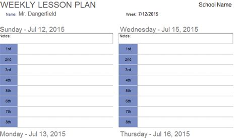 weekly lesson plan template excel weekly lesson plan template