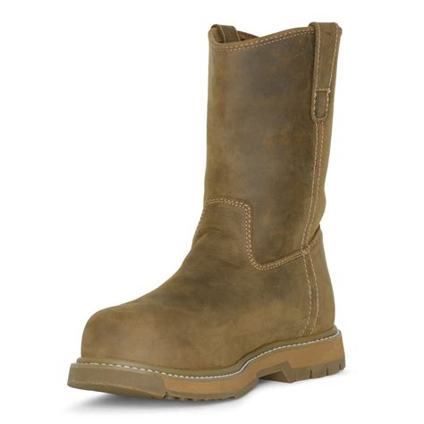 muck work boots muck wellie classic comp toe mens wheat leather work boots
