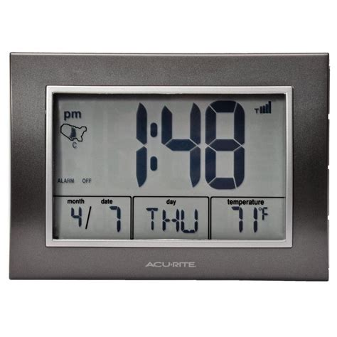 atomic alarm clock with date day of week and temperature acurite