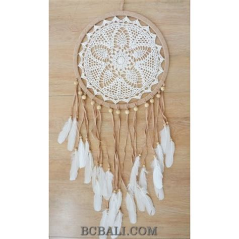 Bali Handmade - bali handmade crochet catcher leather suede feather