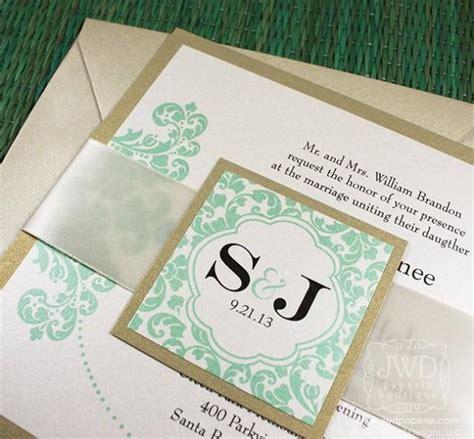Einladung Hochzeit Mint by Elegante Hochzeitseinladung Light Gold Mint Green Wedding