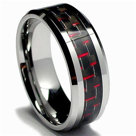 mens tungsten carbide black  red carbon fiber inlay