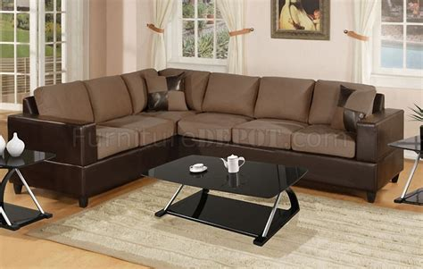 microfiber and faux leather sectional sofa f7632 sectional sofa in saddle microfiber by poundex