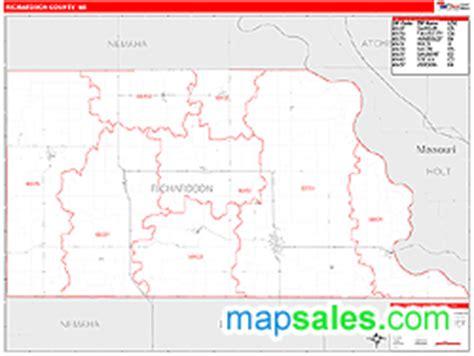 richardson zip code map richardson county ne zip code wall map line style by